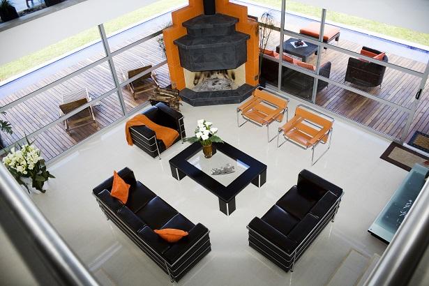 staged living room furniture