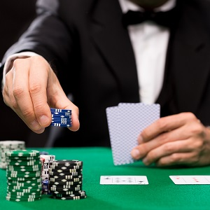 poker player making a bid